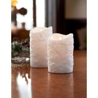 Simplux 4 in. D x 6 in. H Wax/Plastic White LED Textured Candle (Set of 2)