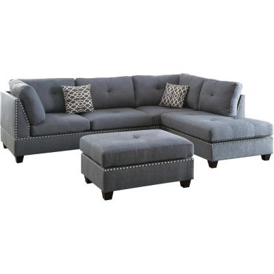 Florence 2-Piece Blue Gray Polyester 6-Seater L-Shaped Sectional Sofa with Ottoman