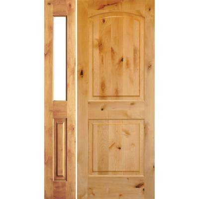 46 in. x 80 in. Rustic Unfinished Knotty Alder Arch-Top Left-Hand Left Half Sidelite Clear Glass Prehung Front Door