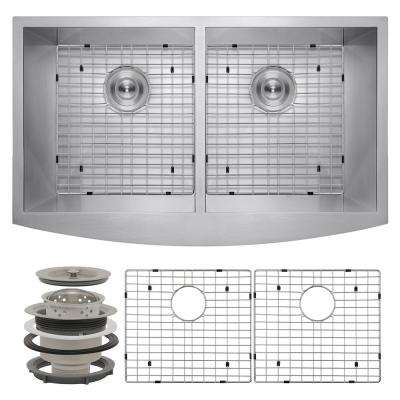 Handcrafted All-in-One Farmhouse Apron Front Stainless Steel 33 in. x 20 in. x 9 in. Double Bowl Kitchen Sink