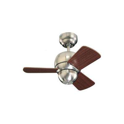 Micro 24 in. Brushed Steel Indoor Mahogany Ceiling Fan