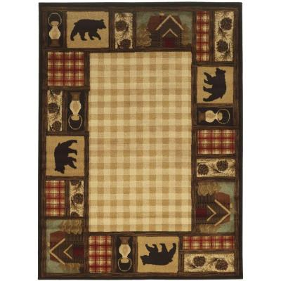 Mountain Top Beige 2 ft. x 3 ft. Cabin Scatter Area Rug