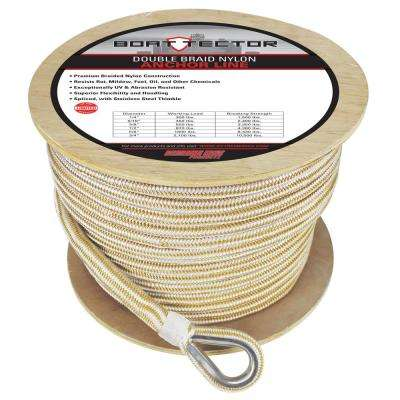 BoatTector 3/4 in. x 300 ft. Double Braid Nylon Anchor Line with Thimble in White and Gold