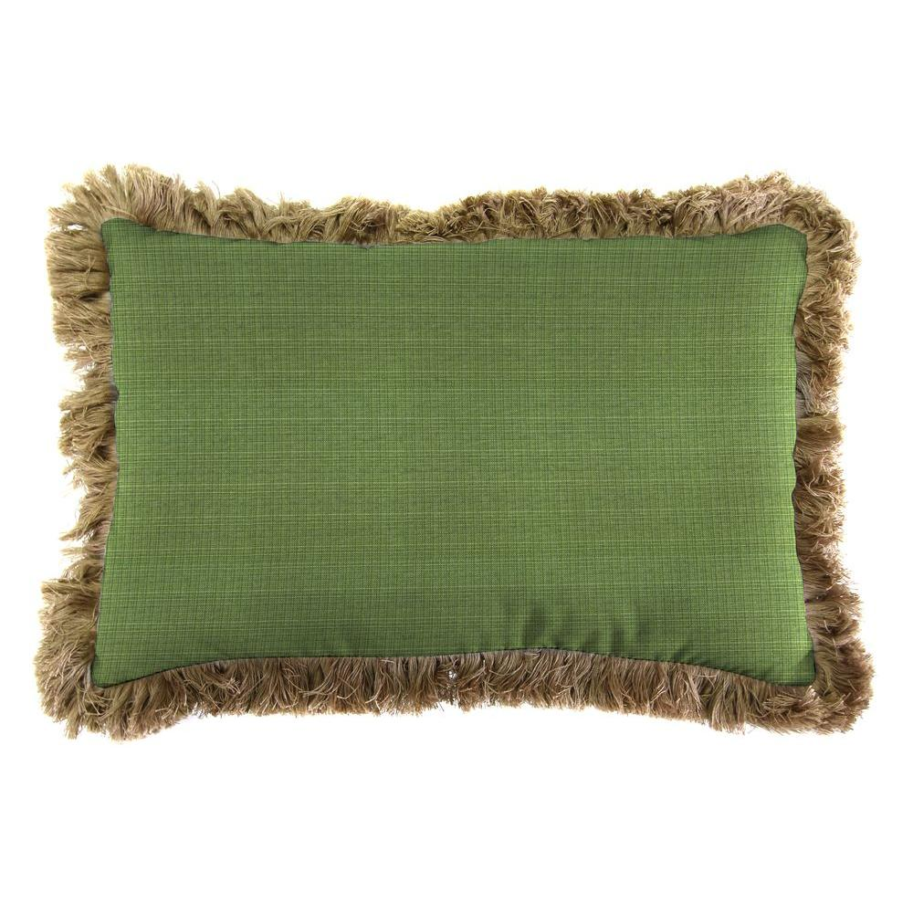 Jordan Manufacturing Sunbrella 19 in. x 12 in. Surge Cilantro Outdoor Throw Pillow with Heather Beige Fringe
