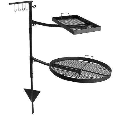 Heavy-Duty Steel Dual Fire Pit Campfire Cooking Grill System