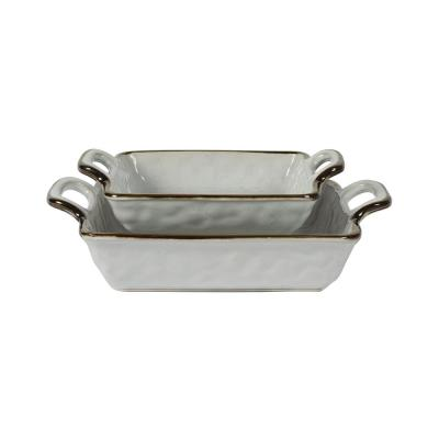 Geneva 13 in. and 10 in. White Square Stoneware Nesting Serving Bowls Baking Dish Set with Brown Rim (2-Piece)