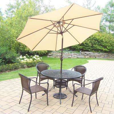 Awesome 7 Piece Aluminum Outdoor Dining Set And Beige Umbrella