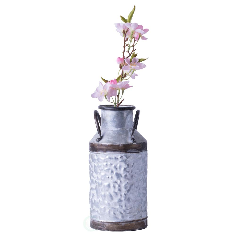 Vintiquewise Small Rustic Farmhouse Style Galvanized Metal Milk Can Decoration Planter And Vase