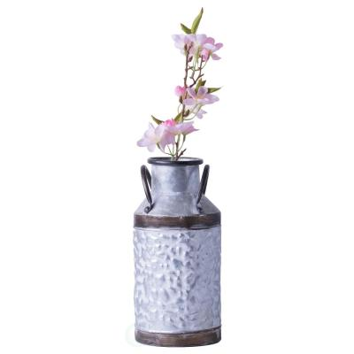 Small Rustic Farmhouse Style Galvanized Metal Milk Can Decoration Planter and Vase