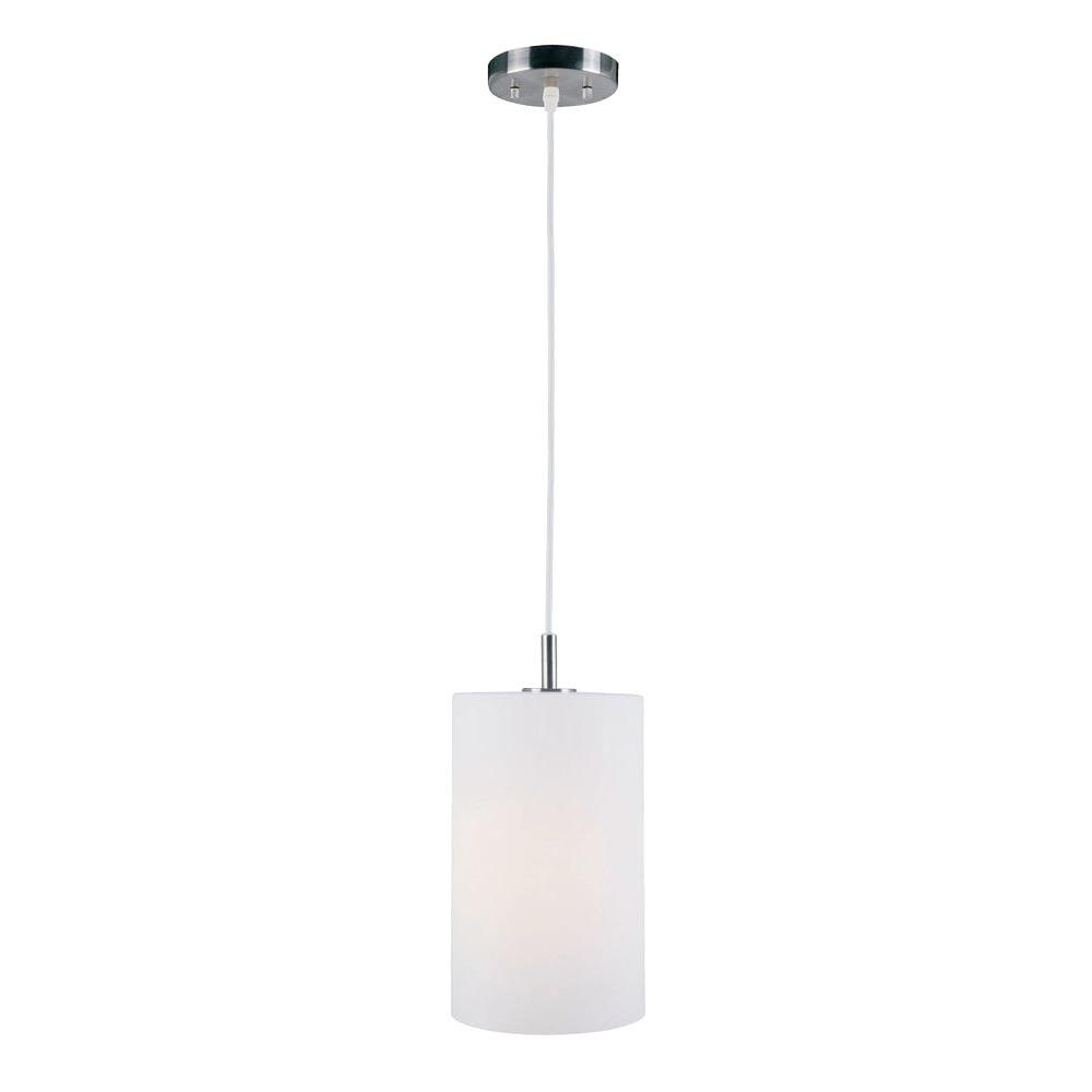 Filament Design 1-Light Steel Pendant with Frost Glass