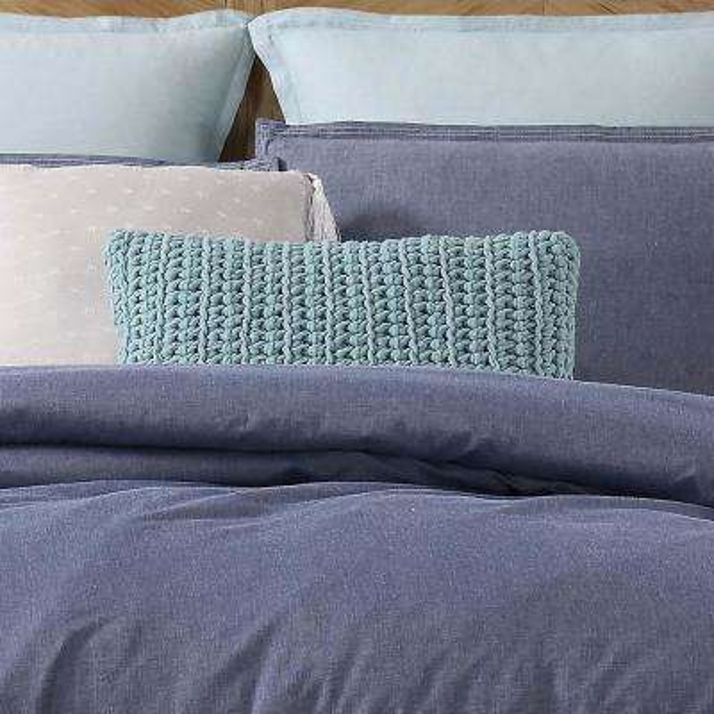 Chambray Loft Aqua Rectangle Pillow