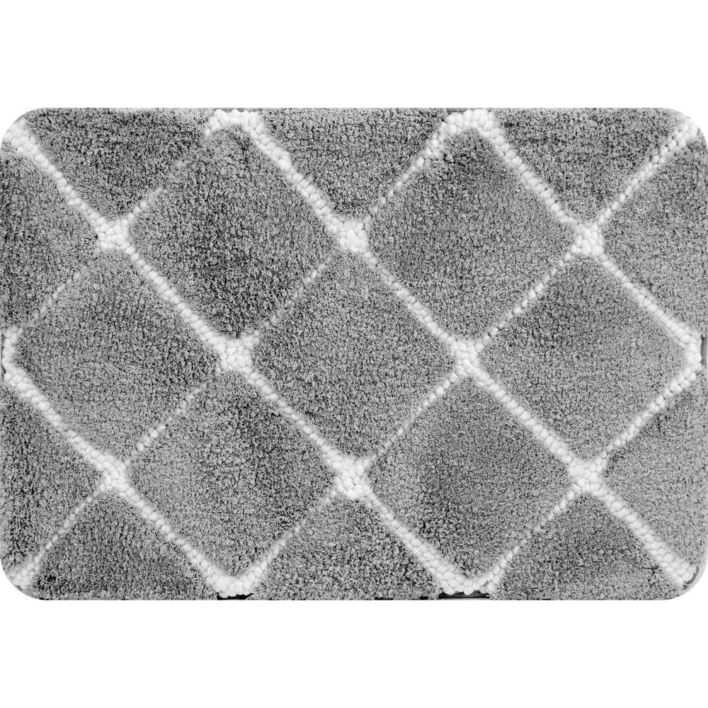 Trellis Foam Gray 36 in. x 24 in. Polyester Bath Mat