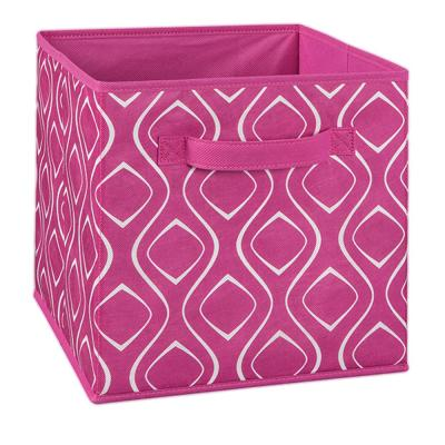 11 in. W x 11 in. H x 11 in. D Fuchsia Diamond Print Fabric Drawer