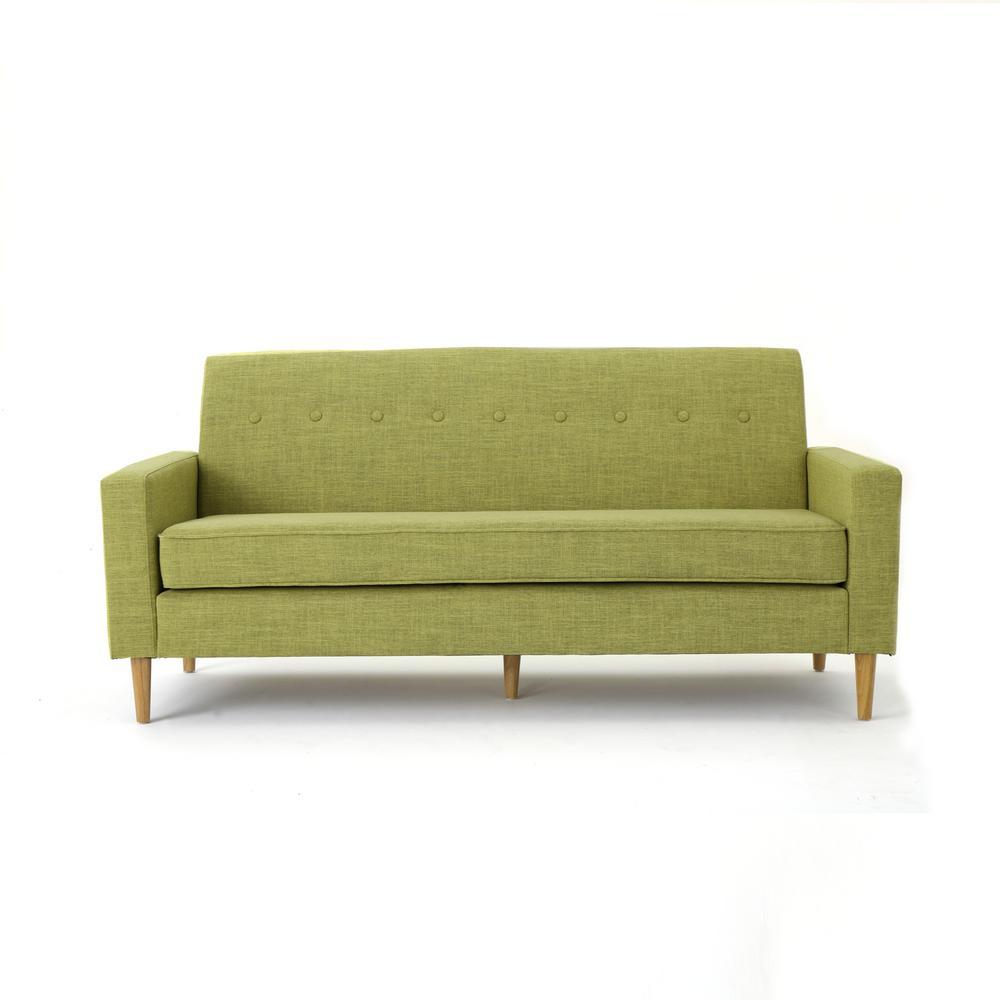 3-Seat Muted Green Fabric Sofa