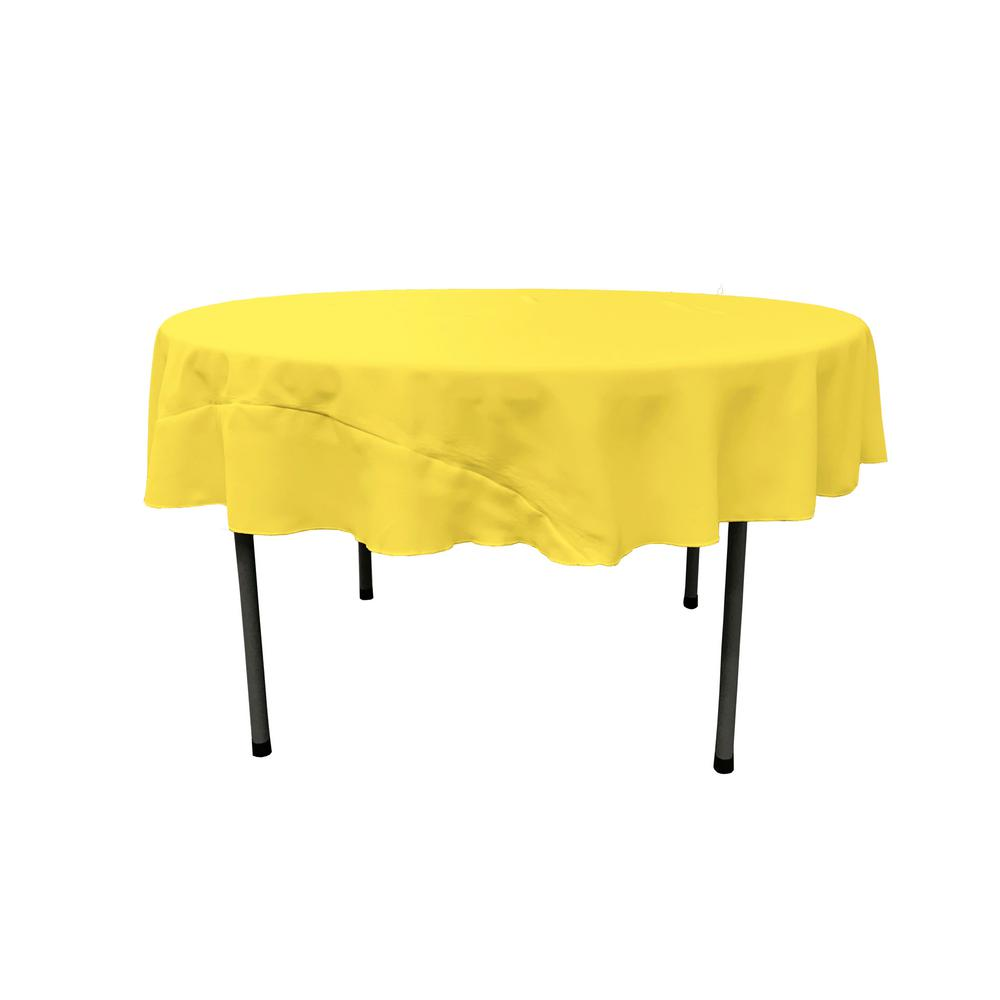 LA Linen 72 In. Light Yellow Round Polyester Poplin Tablecloth