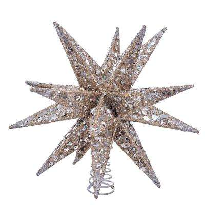 champagne and silver glitter moravian star treetop - Christmas Tree Star