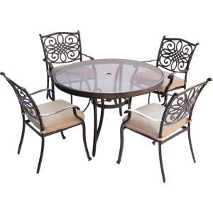 Hanover Traditions 5-Piece Aluminum Outdoor Dining Set with Round Glass-Top Table with Natural Oat Cushions by Hanover
