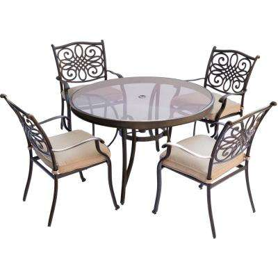 Traditions 5-Piece Aluminum Outdoor Dining Set with Round Glass-Top Table with Natural Oat Cushions