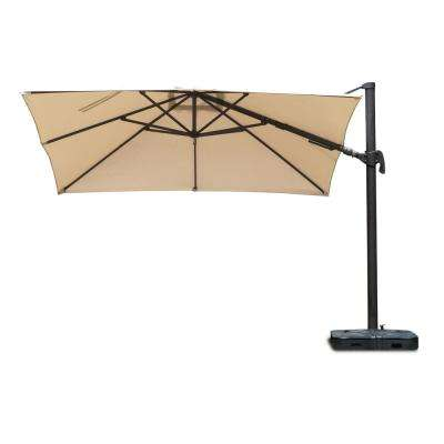 Free Pole Square 10 ft. x 10 ft. Aluminum Frame Patio Umbrella with Base