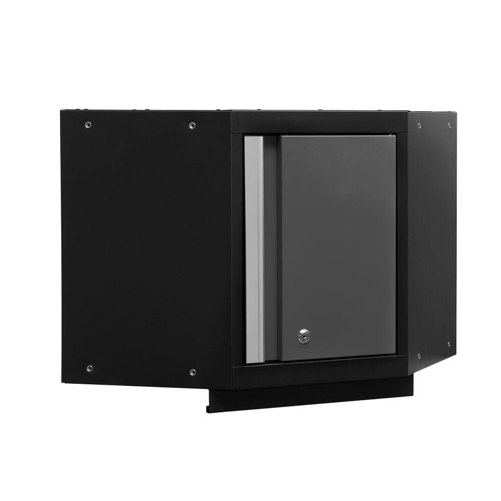 Bold 3 Series 19-1/2 in. H x 21 in. W x 21 in. D 24-Gauge Welded Steel Corner Wall Cabinet in Gray