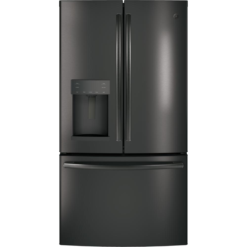 GE Adora 36 in. W 27.7 cu. ft. French Door Refrigerator in Black Stainless Steel with Hands Free Autofill