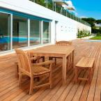 Quin 5-Piece Teak Rectangular Patio Dining Set