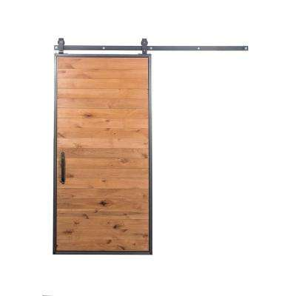 42 in. x 84 in. Mountain Modern Clear Wood Barn Door with Mountain Modern Sliding Door Hardware Kit