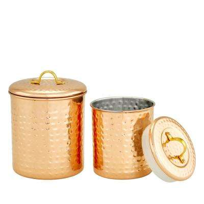2-Piece Copper Hammered Canister Set 1-1/2 Qt. and 1 Qt.