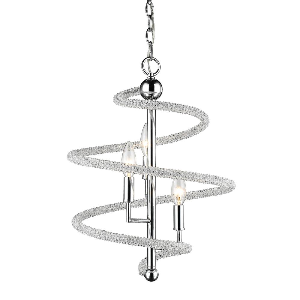 Filament Design Hartley 3-Light Chrome Pendant with Clear and Chrome Crystal and Steel Shade