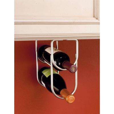 0.625 in. H x 4.25 in. W x 9 in. D Satin Nickel Under Cabinet Double Wine Bottle Rack