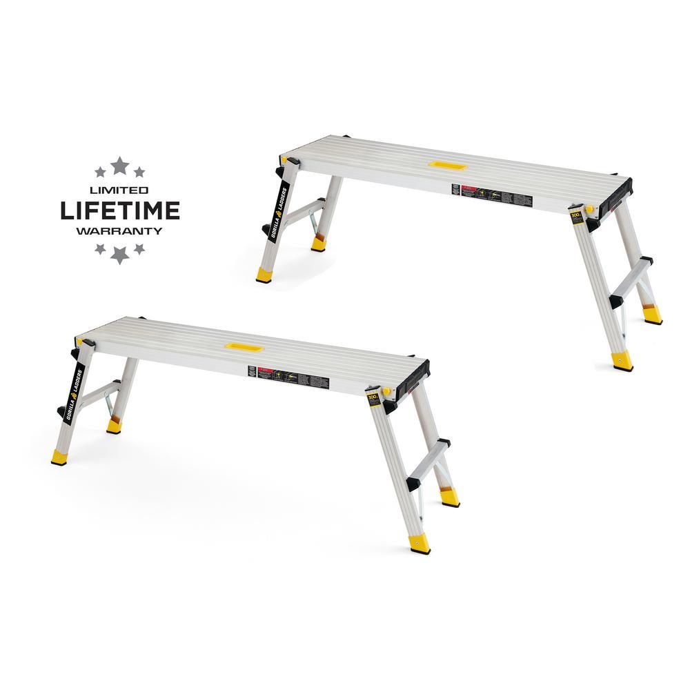 47.25 in. x 12 in. x 20 in. Aluminum Slim-Fold Work Platform, 300 lbs. Load Capacity (2-Pack)
