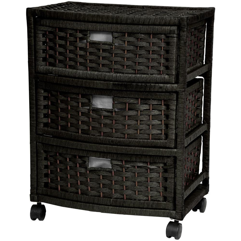 Oriental Furniture 3-Drawer Black Natural Fiber Trunk JH09-051-3-BLK