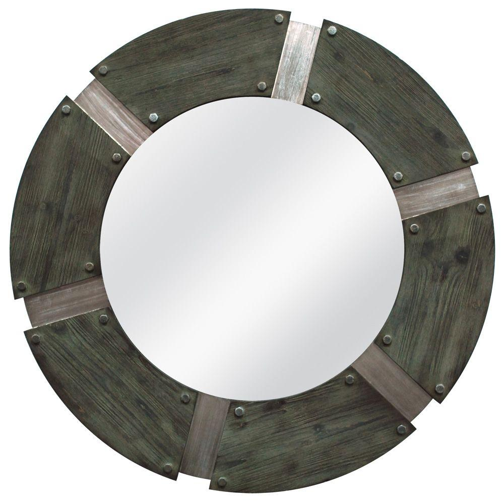 MCS 36 in. x 36 in. Rustic Industrial Round Framed Mirror-DISCONTINUED