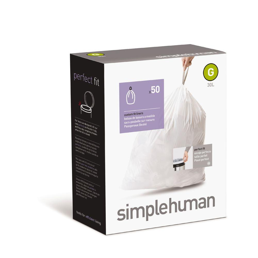 simplehuman Code G Custom Fit 30 l Trash Can Liner (50-Pack)