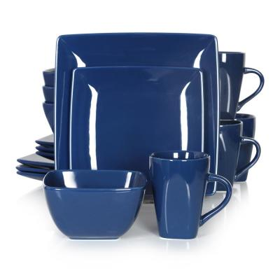 Series SOHO Porcelain Square Blue 16-Piece Dinnerware Sets with Dinner Dessert Plate Bowls and Mugs(Service Set for 4)