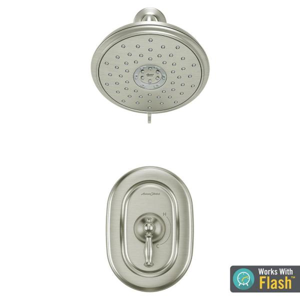 American Standard Quentin 1 Handle Water Saving Shower Faucet Trim Kit For Flash Rough In Valves In Brushed Nickel Valve Not Included Tu440507 295 The Home Depot