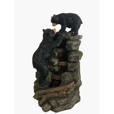 Alpine 36 in. Tall Mom and Bear Cub Climbing Waterfall Fountain with LED Lights