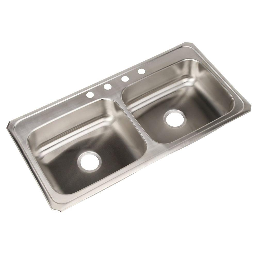 Medium image of elkay celebrity drop in stainless steel 43 in  4 hole double bowl kitchen sink cr43224   the home depot