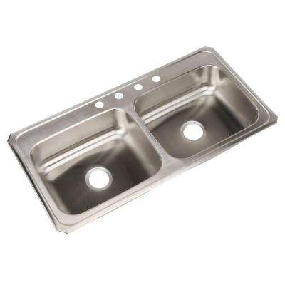 Celebrity Drop-In Stainless Steel 43 in. 4-Hole Double Bowl Kitchen Sink