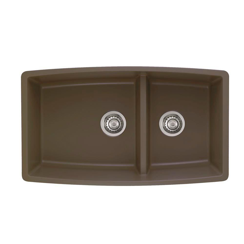 Blanco Performa Undermount Granite 33 in. 0-Hole Double Bowl Kitchen Sink in Cafe Brown