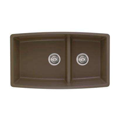 Performa Undermount Granite 33 in. 0-Hole Double Bowl Kitchen Sink in Cafe Brown