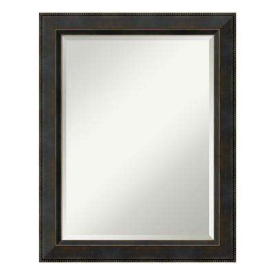 Signore Bronze Wood 23 in. x 29 in. Traditional Bathroom Vanity Mirror