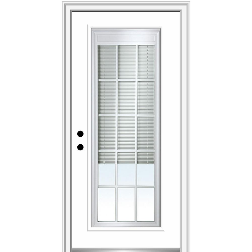 MMI Door 36 in. x 80 in. Internal Blinds/Grilles Right-Hand Inswing Full Lite Clear Primed Fiberglass Smooth Prehung Front Door
