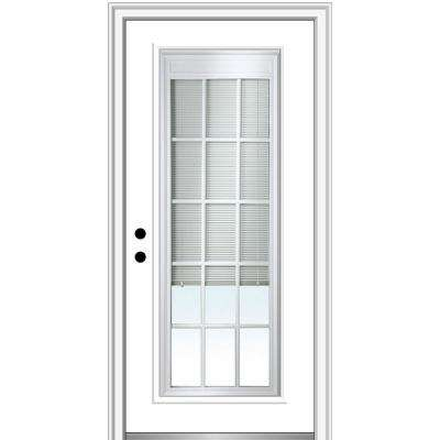32 in. x 80 in. Internal Blinds/Grilles Right-Hand Inswing Full Lite Clear Primed Fiberglass Smooth Prehung Front Door