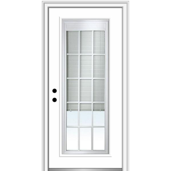 34 in. x 80 in. Internal Blinds/Grilles Right-Hand Inswing Full Lite Clear Primed Fiberglass Smooth Prehung Front Door