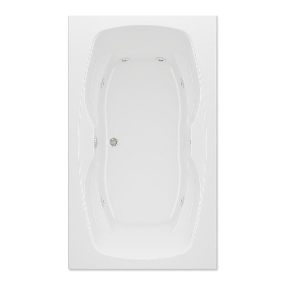 Aquatic Hialeah II 6 ft. Reversible Drain Acrylic Whirlpool Bath Tub Pump Location 2 in White