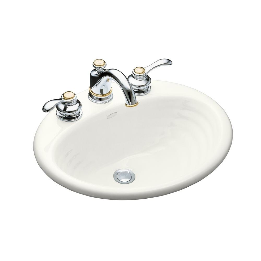 KOHLER Ellington Drop-In Cast Iron Bathroom Sink in White with Overflow Drain