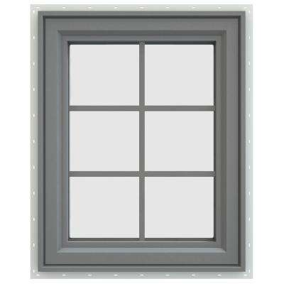23.5 in. x 29.5 in. V-4500 Series Left-Hand Casement Vinyl Window with Grids - Gray