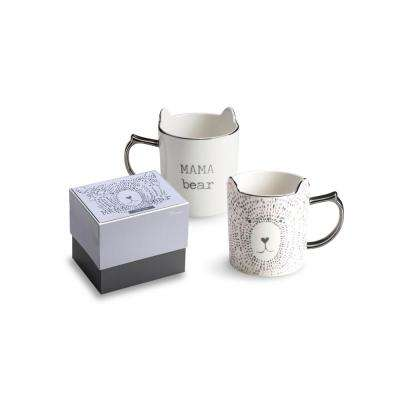 Love You More 14 oz. White and Silver Mama Bear Coffee Mug