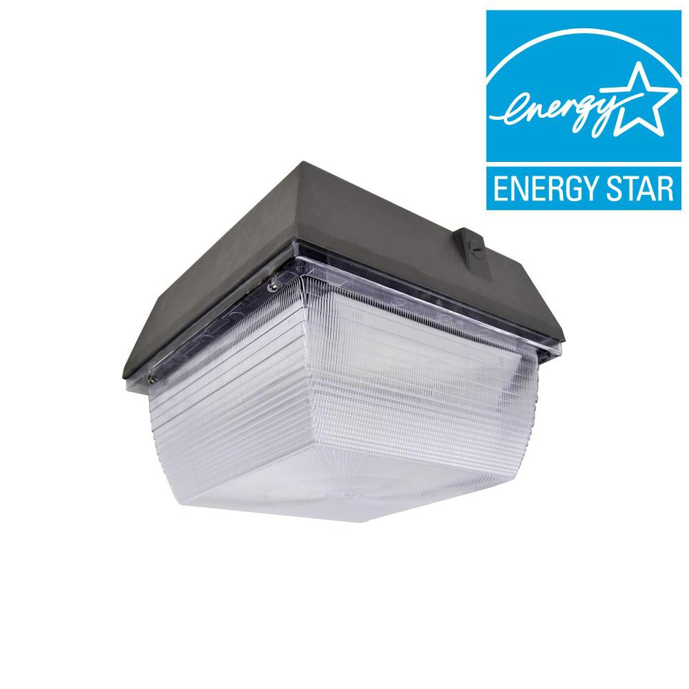 60-Watt Outdoor Black LED Canopy Light with Natural White (5000K)